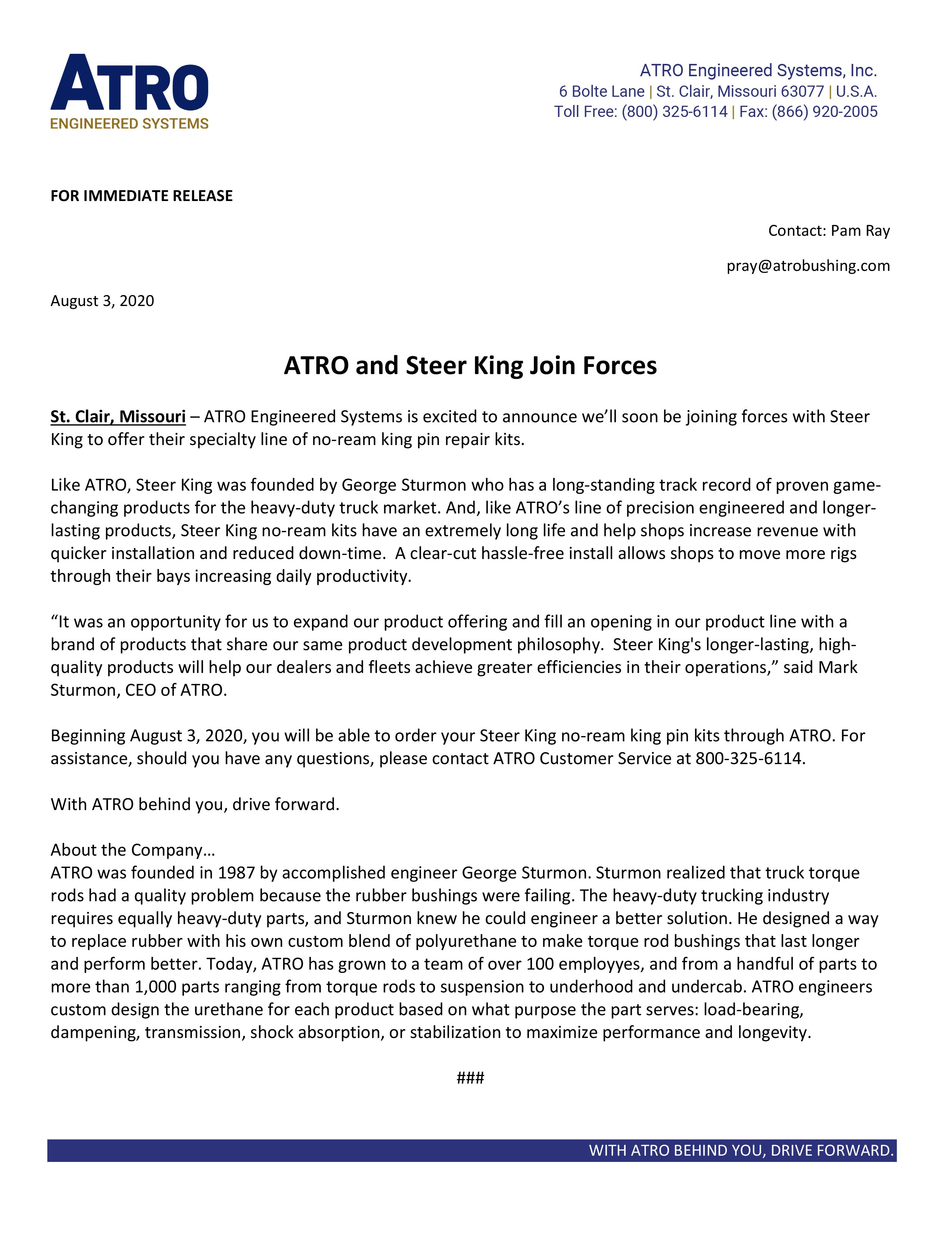 ATRO and Steer King Join Forces - Press Release August 3, 2020